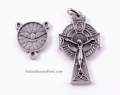 Holy Spirit Rosary Center with Celtic Crucifix Italian Rosary Medal Set | Italian Rosary Parts