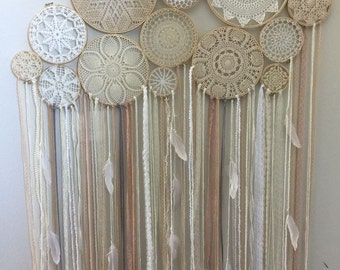Doily Boho Dreamcatcher - Multi Ring // Wood // Wall Decor // Baby shower gift // Boho Decor // Wedding decor // Bridal Shower