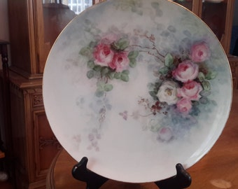Large Antique T&V Limoges Rosebud Pink and Green Platter c.1892-1907, hand painted, cabinet plate, hanging plate, shabby chic, cottage chic