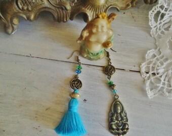 "Boho earrings, crystals Earrings ""little Bouddha"""