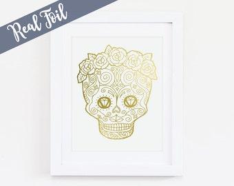 Sugar Skull, Gold Foil Print, Real Gold Foil, Wall Art, Line art, Mexican Culture, Day of the Dead, Dia de los Muertos, Skull_1