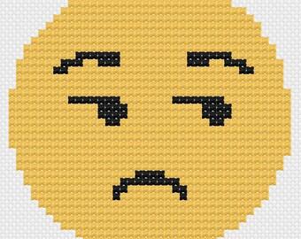 Side-eye emoji: cross stitch pattern