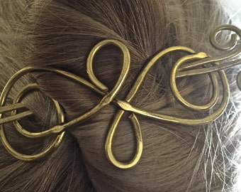 Brass Copper Metal Hair Clip Barrette, Hair Jewelry, Hair Clip, Hair Pin, Hair Barrette, Hair Stick, Scarf Pin, Wedding Hair Accessory