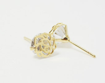 E0068/Anti-tarnished Gold Plating Over Brass+Cubic Zirconia/Rose Cubic Zironia Earrings/8mm/2pcs