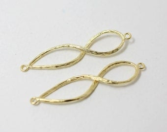 P0311/Anti-Tarnished Matte Gold Plating Over Brass/Branch Infinity Pendant Connector/9x42mm/2pcs
