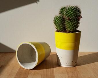 Lemon large cement Flowerpot / Big Lemon yellow concrete planter