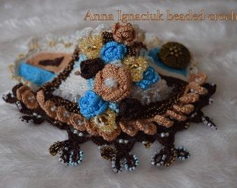 Handmade beaded crochet cotton cuff / bracelet