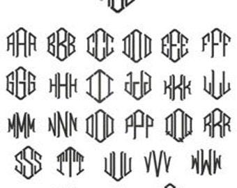 Diamond Monogram Font Etsy