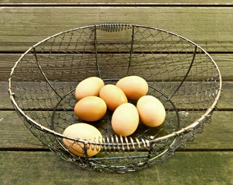 Large Wire Basket | Chicken Wire Egg Basket | Rustic Wire Basket Copper Tones | Wedding Decor | Farmhouse Decor Containers