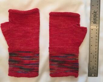 Fingerless Mittens - Red