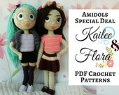 Special Deal : Amidolls Flora & Kaille, a PDF Crochet Pattern in English, Amigurumi Doll, Stuffed Toy