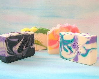 Four Bar Soap Set, ANY FOUR BARS you pick the soaps,  Natural Soap, Cold Process Soaps, Pick any four bars of handmade soap