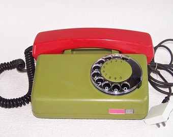 "Working Rotary Phone. Vintage Soviet Time Telephone Made in Poland. Retro Green/Red ""TELKOM"" Phone. Old Desk Telephone. Home Decor."
