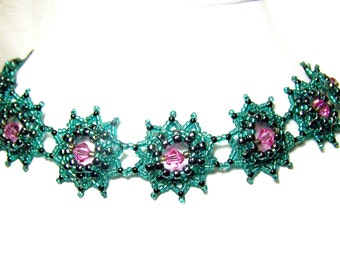 Beaded Necklace Teal and Pink Beadwork Choker Set