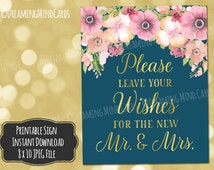 Printable Wishes for the New Mr. and Mrs. Sign 8x10 Pink Watercolor Floral Gold Navy Blue Wedding Digital Download