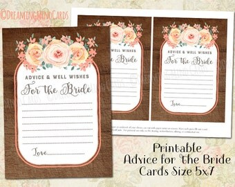 Printable Advice and Well Wishes for the Bride Cards Rustic Wood Peach Pink Vintage Flowers Watercolor Bridal Shower Instant Download