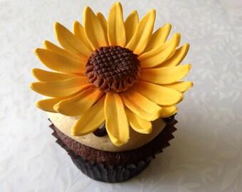 12 Sunflower Fondant Flower I 12 Sunflower Gumpaste Flowers Fondant Sunflowers Gumpaste Sunflowers Cake Topper Cupcake Topper