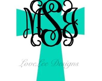 Cross Monogram Decal/Cross Decal/Monogram/Initials/Custom/Car Decal/Window/Sticker