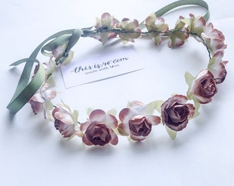 Handmade floral crown w/green ribbon