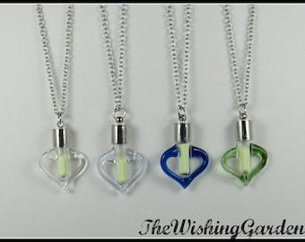Glow in the Dark Glass Heart Wishing Dust Necklace