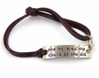 She Believed She Could So She Did Bracelet Inspirational Affirmation Jewelry Graduation Gift Class of 2016 HR-B41
