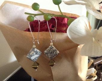 T-shirt Bead Dangle Handmade Earrings