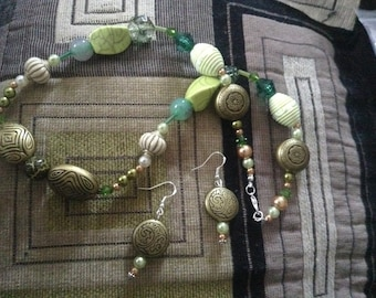 Necklace Earrings Forest Glen Beads Green Gold Handmade