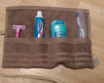 Travel Toiletry Roll Tan , Travel Toothbrush Roll,  Gym Bag Roll,  Toothbrush Holder,  Camping,  Overnight,  Make Up Brush Roll