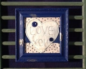 Love You Framed Wall Piece, Valentine's Day, Mother's Day, Friend, Sister, Handmade, Navy Frame, Embroidery, Heart