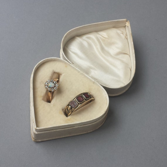 vintage heart shaped double ring box bridal ring box with 2