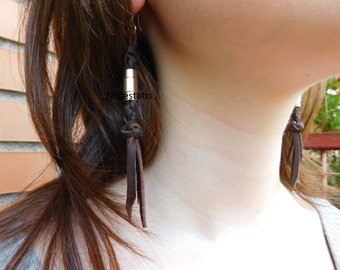leather earrings with fringes, 9.25 silver hooks, stainless steel clasp making them 2 in 1, black leather, brown leather womens gift for her