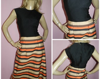 Vintage 70s Black/Orange/Tan Contrast STRIPE MAXI dress 12-14 1970s Bold Elegant Evening