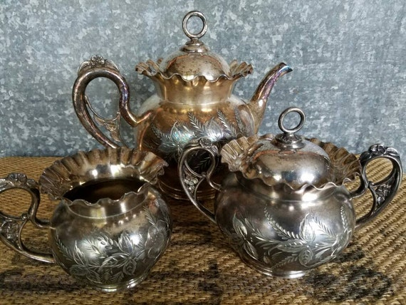 Silver Plate Tea Coffee Set Aurora Silver Plate Mfg Co