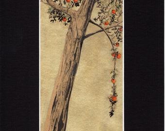 Pommier / Apple tree - 200 mm x 300 mm - Golden background