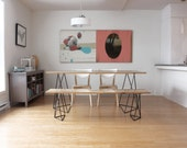ANIA Dining Table | Kitchen table Dining Room Furniture Reclaimed Wood Furniture Table and Bench Pallet Furniture Style Minimalist Table