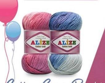 SALE-Alize Cotton Gold Batik yarn, baby yarn,nature cotton,pure cotton, eco friendly yarn, 4ply yarn, baby yarn,crochet yarn, knitting yarn,