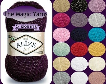 5 skeins lot: Alize Sal Sim metal thread yarn Sparkle glitter soft glitz yarn Hypoallergenic knit supplies crochet top Color variations