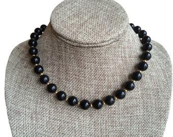 60s Classic Vintage Monet Gold Tone Black Bead Necklace