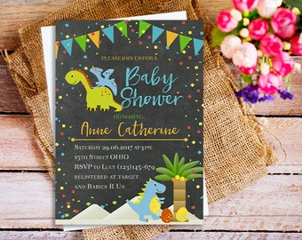Amazing Dinosaur Invites, Dinosaur Baby Shower Invitation, Chalkboard Dinosaur  Invites, Baby Shower For Boy