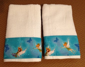 Pretty Turquoise Tinkerbell Fairies Bath Hand Towels Set of 2