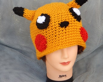 Sale! 15 dollars Pokemon: Pikachu Inspired Crochet Hat (ask for other sizes)