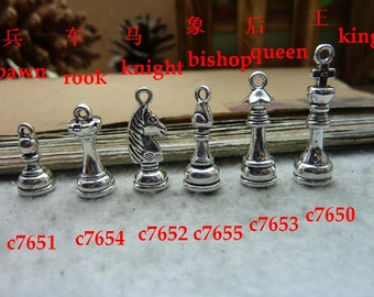 30 Chess Piece Charms Antique Silver Tone Pawn Piece 3D