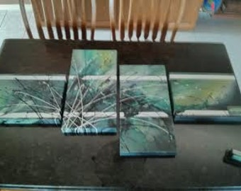 green abstract multi  stretch canvas oil painting (set 4)