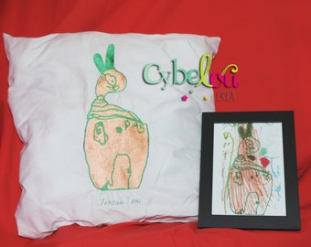 Pillow embroidered according to the drawing of your child