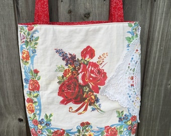 Vintage Eaton tablecloth tote bag/ vintage 1950s red rose tablecloth bag/ upcycled tote!