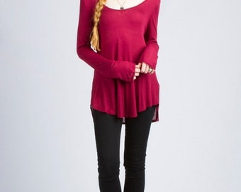 Long Sleeve Deep Scoop Neck Tunic TOP