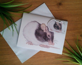 Keeping Clean - Rat Greeting Card (Blank) + Matching Magnet