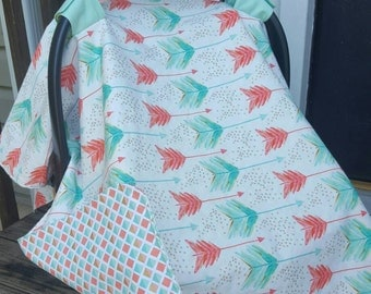 Mint and Coral Arrow carseat canopy- car seat canopy for girl carseat cover girl : canopy for car seats - memphite.com