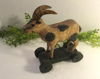 Vintage Reproduction of Old Pull Toy Goat