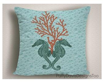 Outdoor Pillows Sea Horse, Outdoor Pillow Covers, Beach Theme Patio Pillows, Outdoor Pillow Cushions